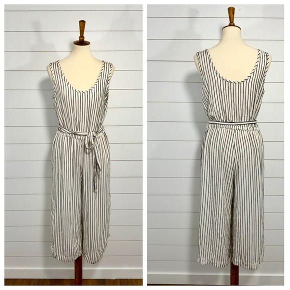 1cb06d8b4291 GAP Pants - GAP Black + White Striped Culotte Jumpsuit